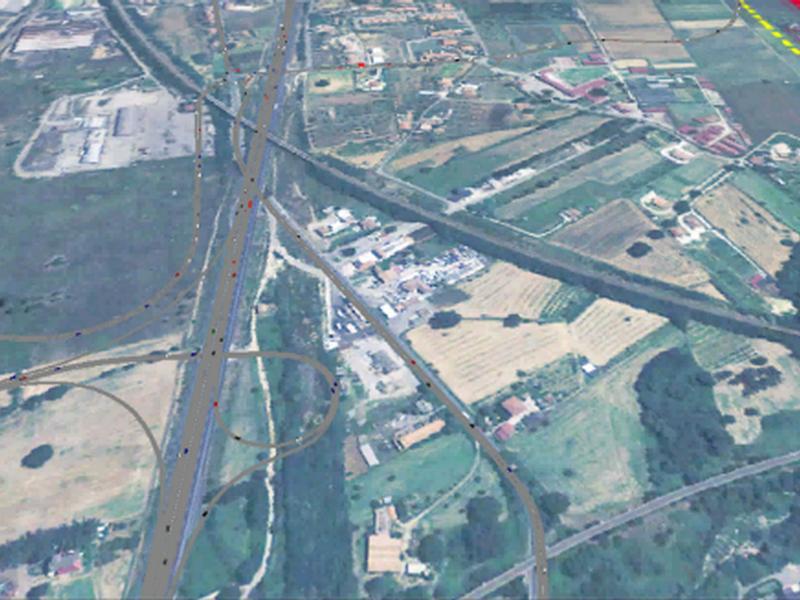 Svincolo autostradale di Settimo di Rende e stazione ferroviaria, la fotografia aerea della zona interessata.