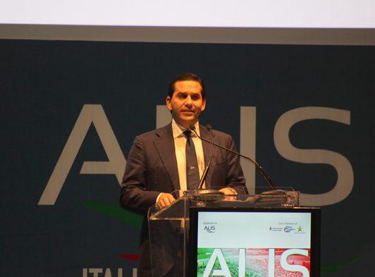 Assemblea generale Alis le considerazioni di Grimaldi, Grmaldi Guido al podio.