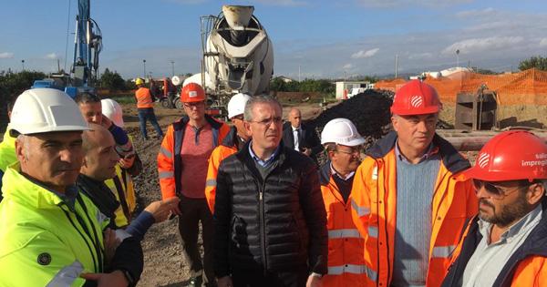 Raddoppio ferroviario Palermo Catania. la visita dell'assessore Falcone al cantiere Rfi