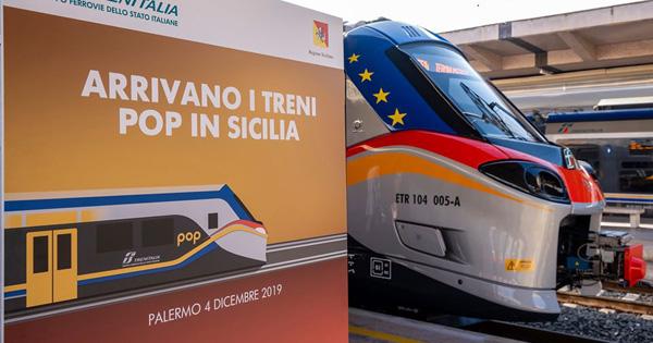 treni ibridi Marco Falcone replica alla nota del Ciufer, nella foto un manifesto che annunci l'arrivo dei nuovi treni in Sicilia