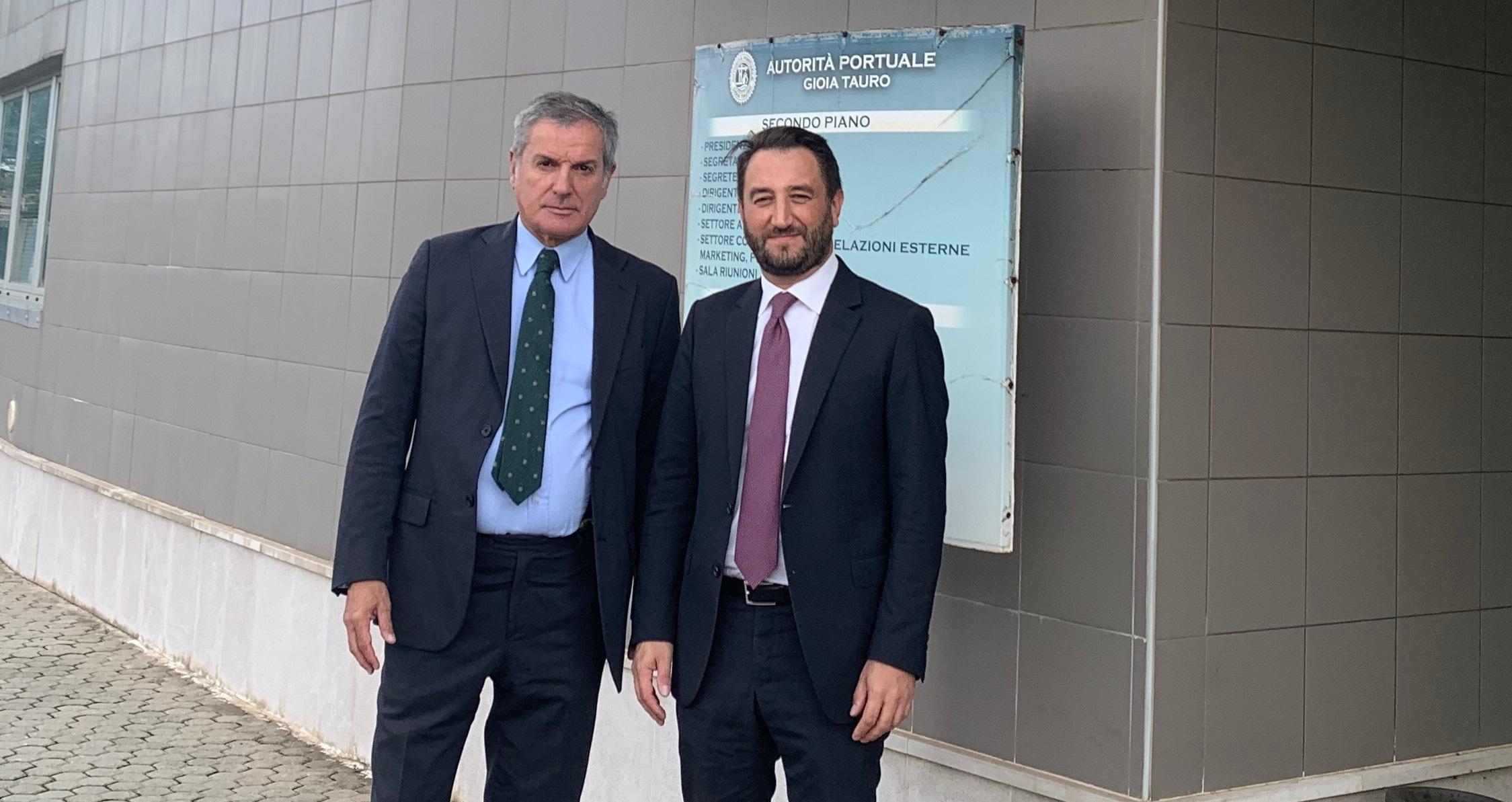 Cancelleri in visita a Gioia Tauro con il commissario straordinario dell'autorità portuale, Andrea Agostinelli