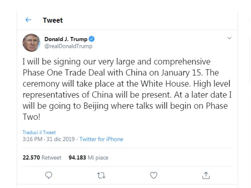 accordo con la Cina